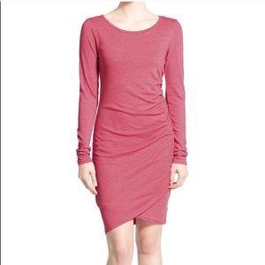 Leith pink ruched asymmetrical midi bodycon dress